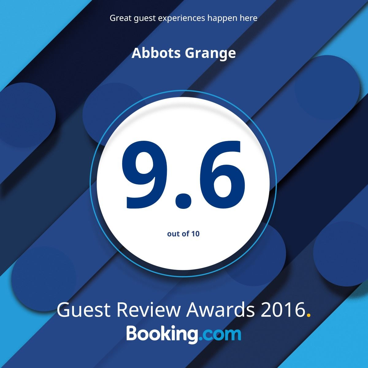 Booking.com Guest Award 2016 9.6 rating