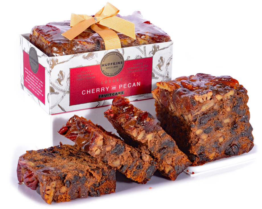 Beautifully presented Huffkins cherry and pecan fruitcake