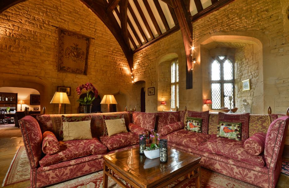 Great hall interior showing comfy seating on a bright sunny day
