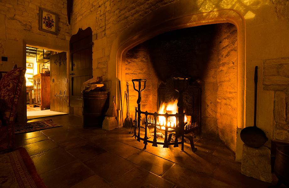Open fire in the great hall