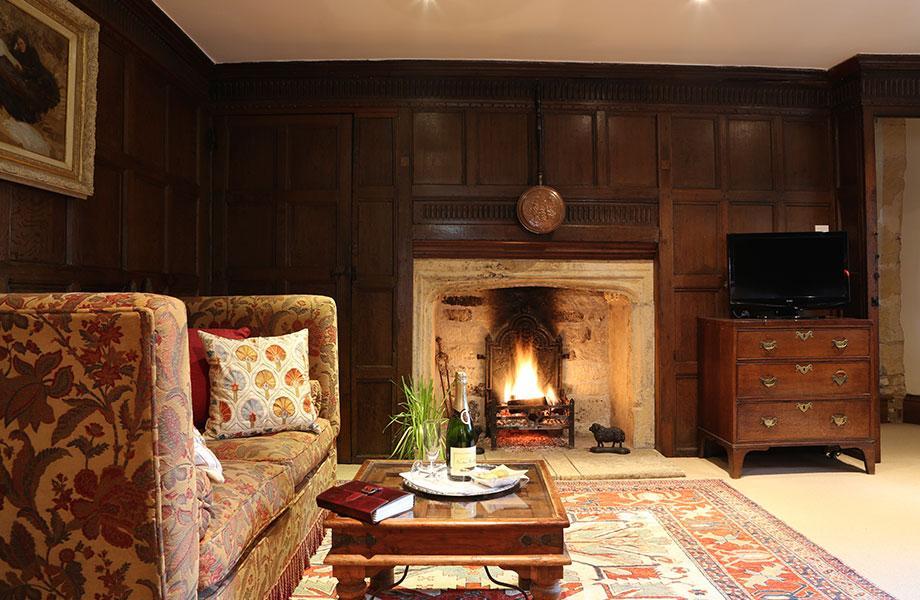 Elizabethan suite open fire
