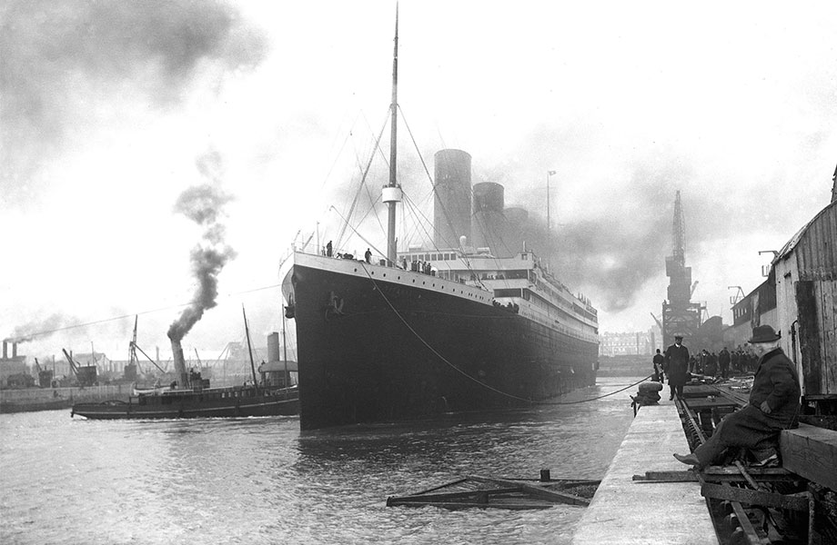 Historic image of Titanic ship anchored at the dock